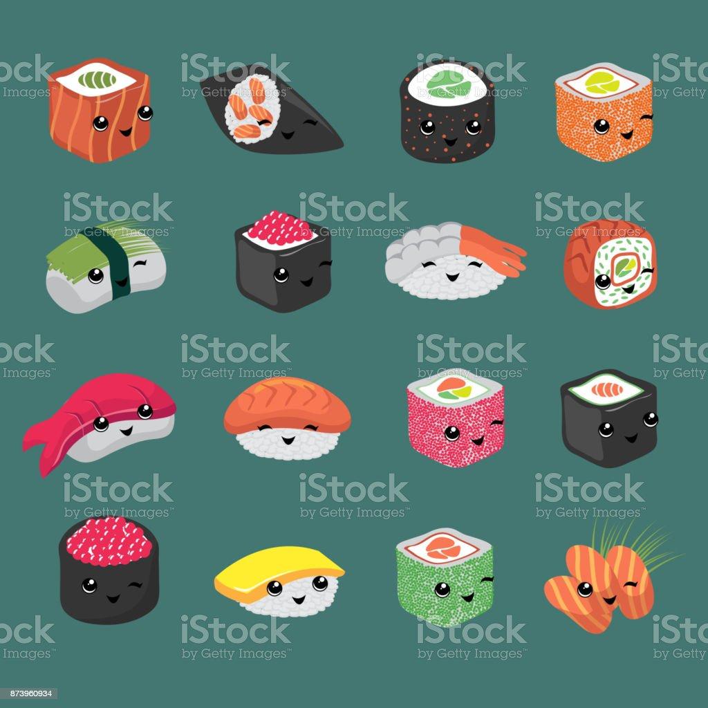 Cute and fun japanese sushi vector cartoon characters