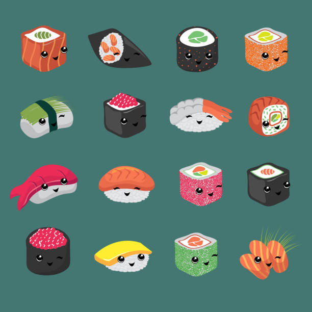 cute and fun japanese sushi vector cartoon characters - sushi stock illustrations