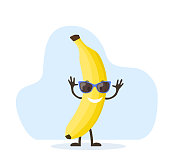 istock Cute and funny banana character 1264421000