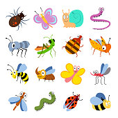 Cute and funny bugs, insects vector collection. Cartoon insects set