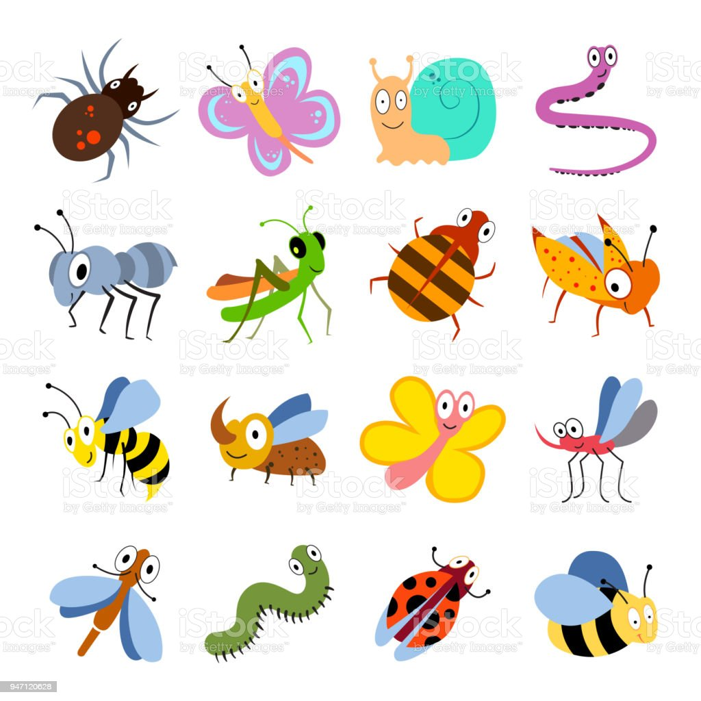 Cute and funny bugs, insects vector collection. Cartoon insects set vector art illustration