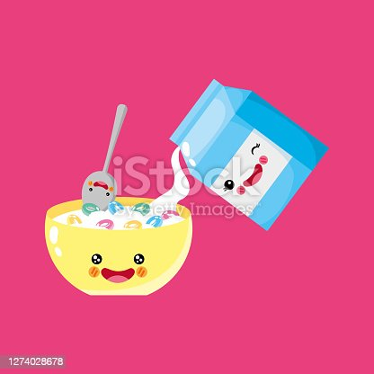 cute and funny cereal and milk smiling