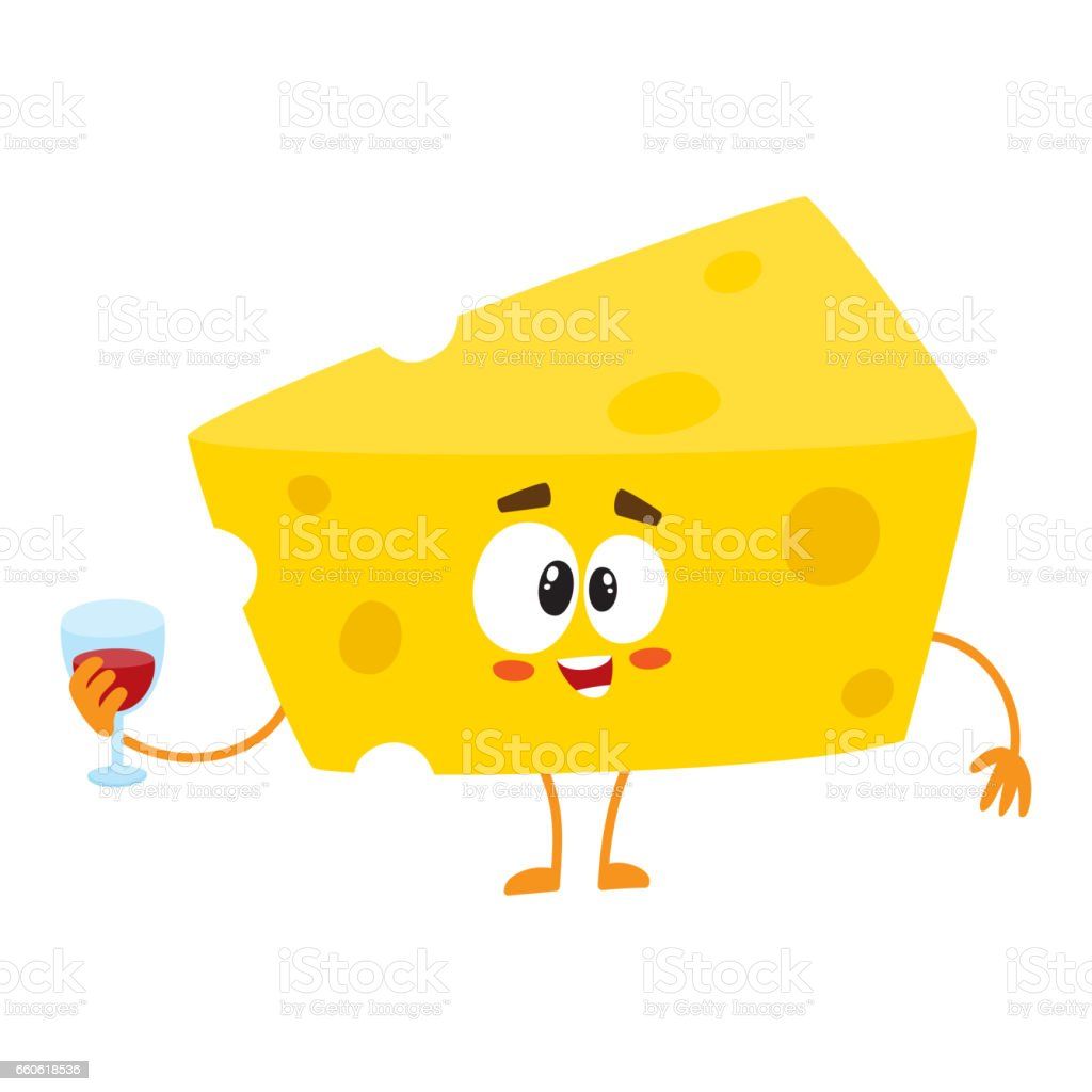 Cute and funny cheese chunk character holding glass of wine vector art illustration