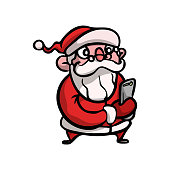 Cute and funny Christmas santa claus with eyeglasses make selfie photo. Cartoon style. Vector illustration on white background