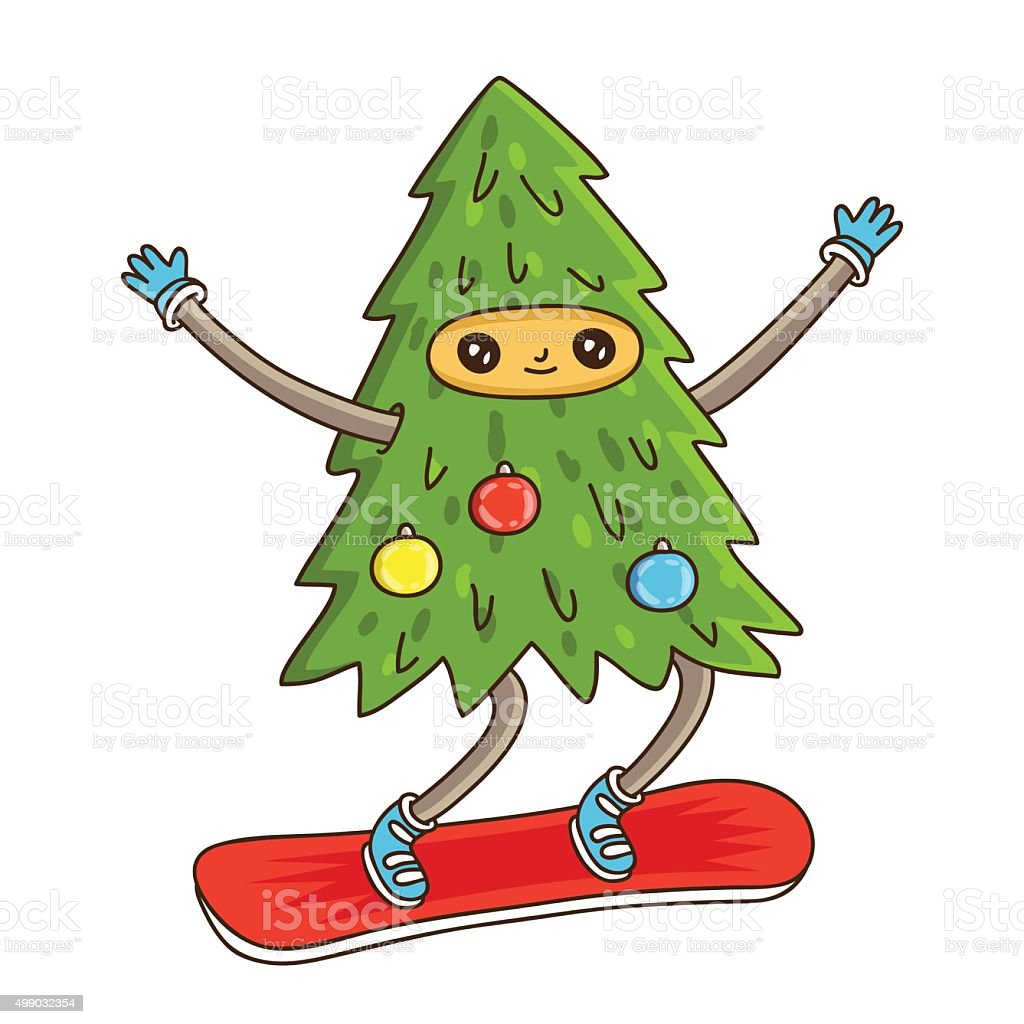 Cute And Funny Christmas Tree On A Snowboard Royalty Free Cute And Funny Christmas  Tree