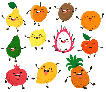 Cute and funny fruit characters with eyes. Vector fruit isolates on white background. Cartoon fruits