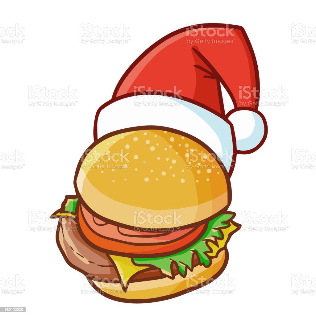 クリスマスにサンタさんの帽子をかぶってかわいいと面白いハンバーガー
