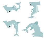 cute and funny hammerhead shark in various poses, cartoon character