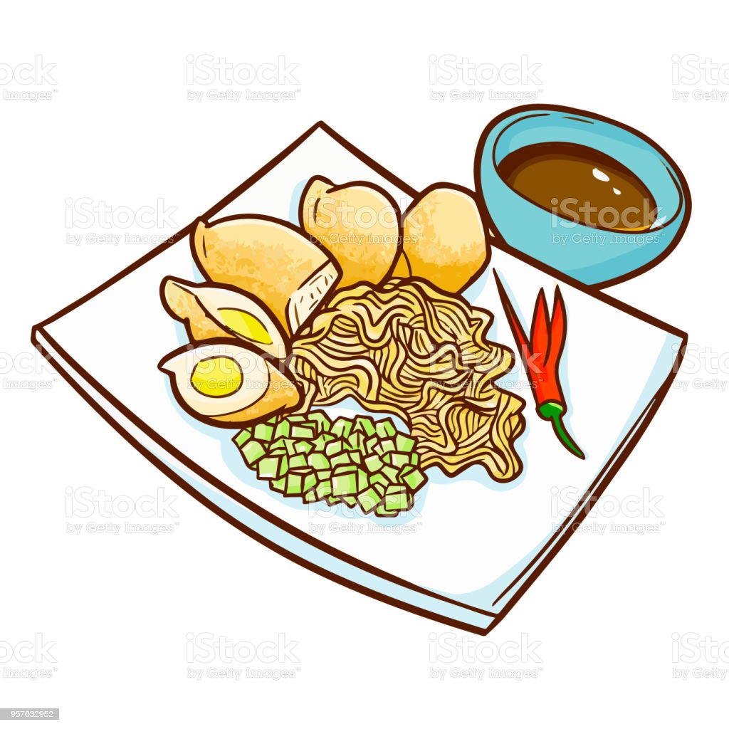 Cute And Funny Indonesian Cuisine Empekempek A Traditional Food From Palembang South Sumatera Stock Illustration Download Image Now Istock