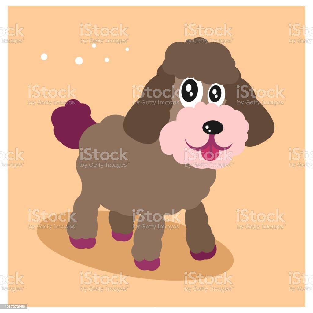 Ilustración De Lindo Y Divertido Poco Perro Caniche O Perrito