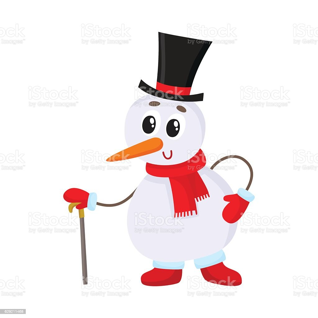 eadc29d484caf Cute and funny little snowman in cylinder hat leaning on royalty-free cute  and funny
