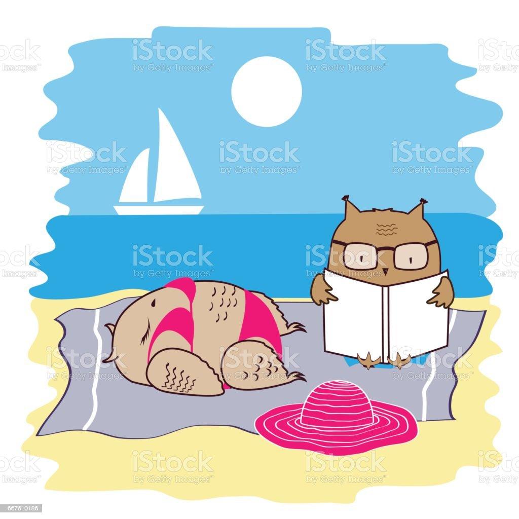 Nette Und Lustige Eulen Im Urlaub Am Strand Am Meer Liegen