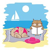 Cute and funny owls on vacation lying on the beach by the sea and relaxing on a sun lounger. Vector