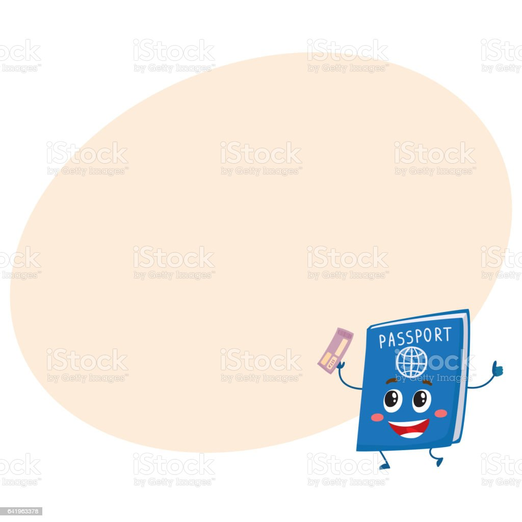 Cute and funny passport, identity document character, travelling...