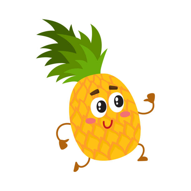 Cute and funny pineapple character running with thumbs up vector art illustration