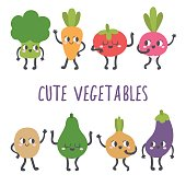 Cute and funny set of kawaii vegetables.