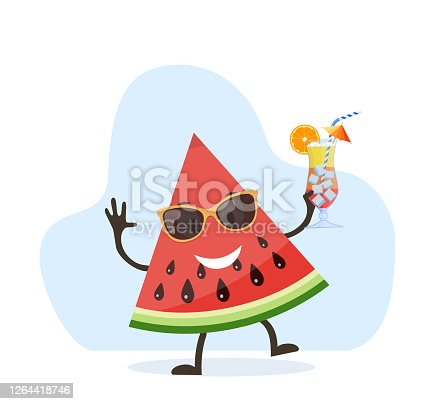 istock Cute and funny watermelon character 1264418746