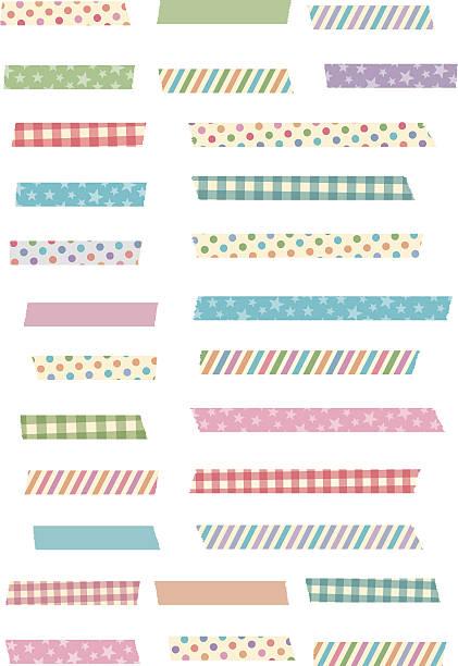 Cute and girly masking tape set vector art illustration
