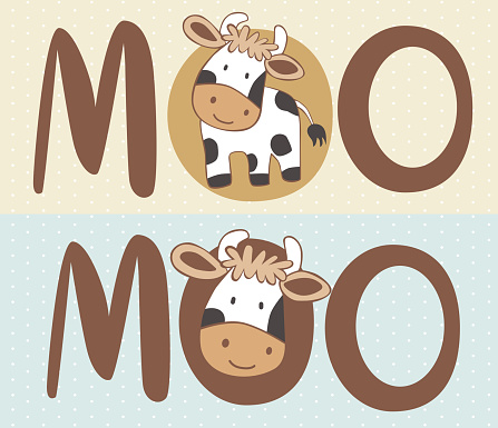A cute and happy baby cow cartoon.