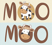 A cute and happy baby cow cartoon. Can be used as a logo. Stock Vector Illustration.