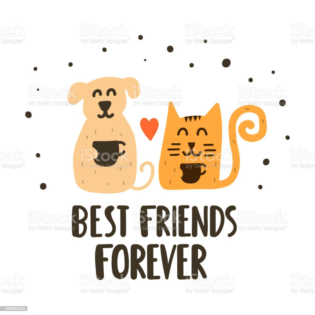Cute and happy cat with dog drink coffee - best friends forever. Hand drawn vector lettering illustration for postcard, social media, t shirt, print, stickers, wear, posters design. vector art illustration