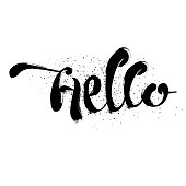 Cute and modern Hello saying greeting card template with hand lettered message, hand drawn dots texture background, black and white.