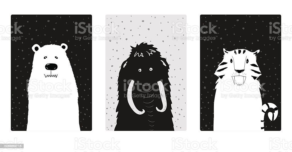 Cute and simple ice age animals illustration. vector art illustration