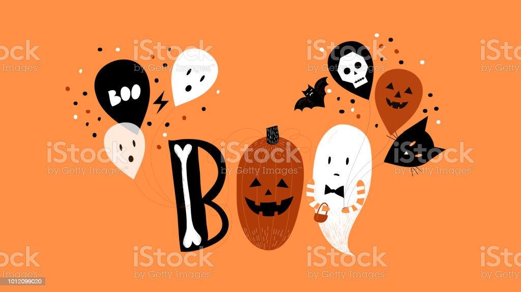 Linda y misteriosa mano de Halloween dibujado ilustración y tipografía. - ilustración de arte vectorial