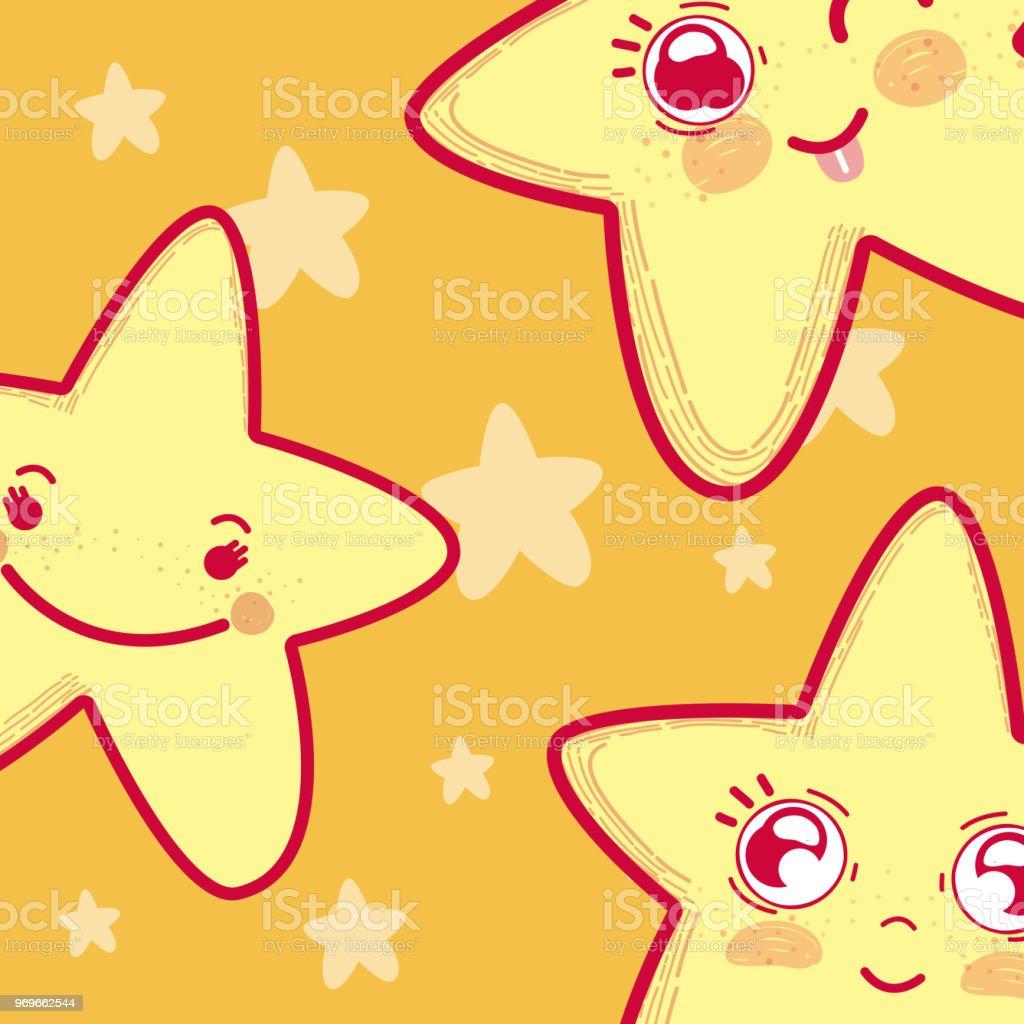 Ilustracion De Dibujos Animados De Estrellas Lindo Y Tierno Y Mas