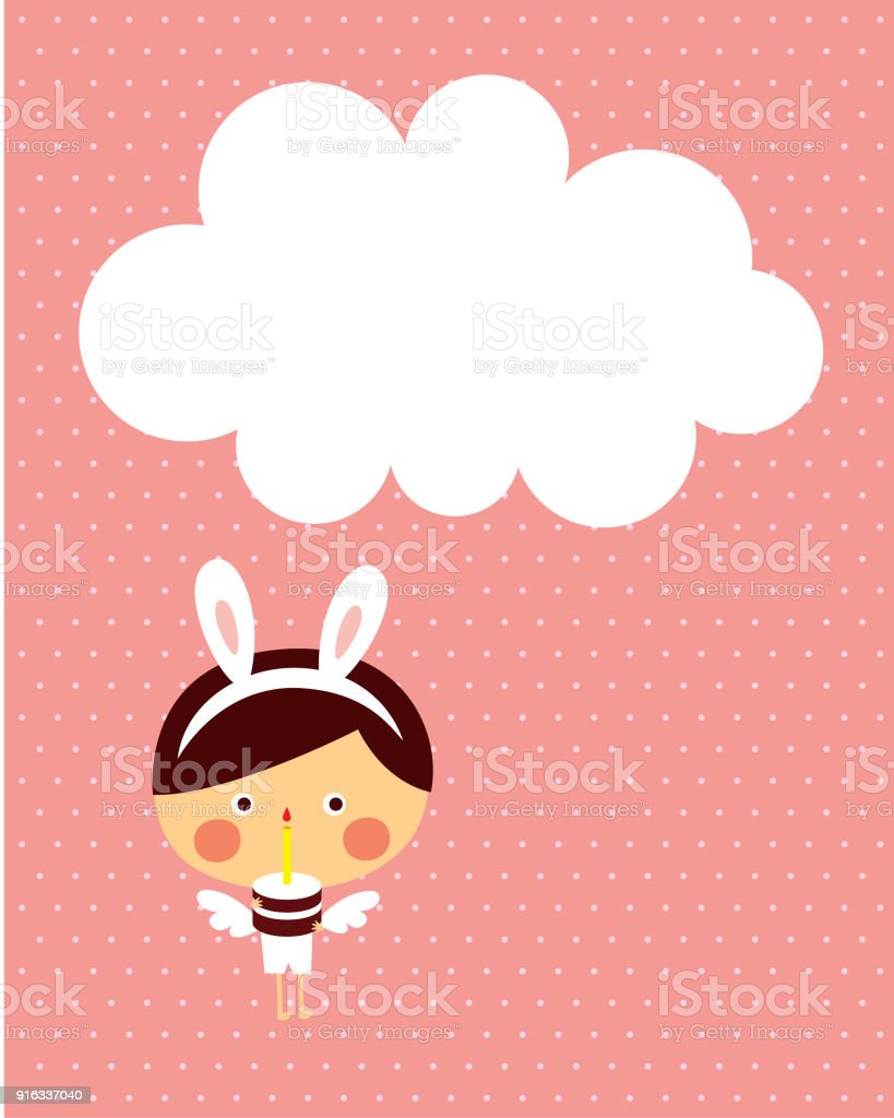 Cute Angel Boy Happy Easter And Happy Birthday Greeting Stock Vector