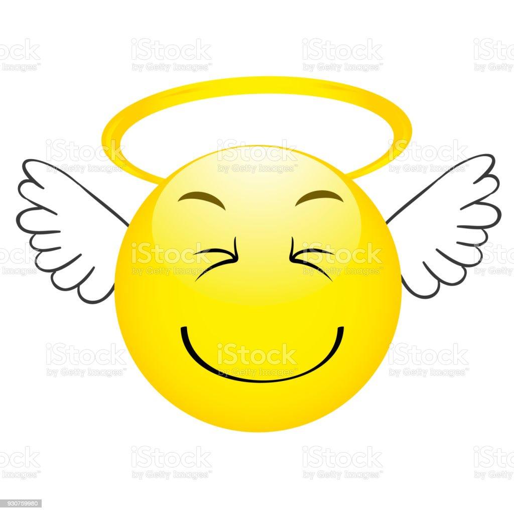 Emoticon Ange Mignon Avec Ailes Emoji Smiley Vecteurs Libres De Droits Et Plus D Images Vectorielles De Ange Istock