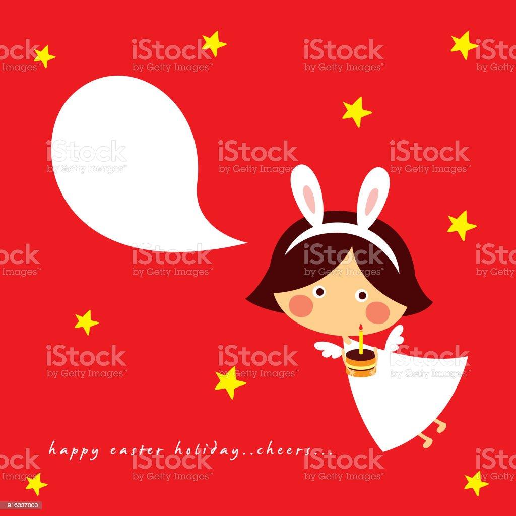 Niedliche Engel Mädchen Frohe Ostern Und Alles Gute Zum Geburtstag