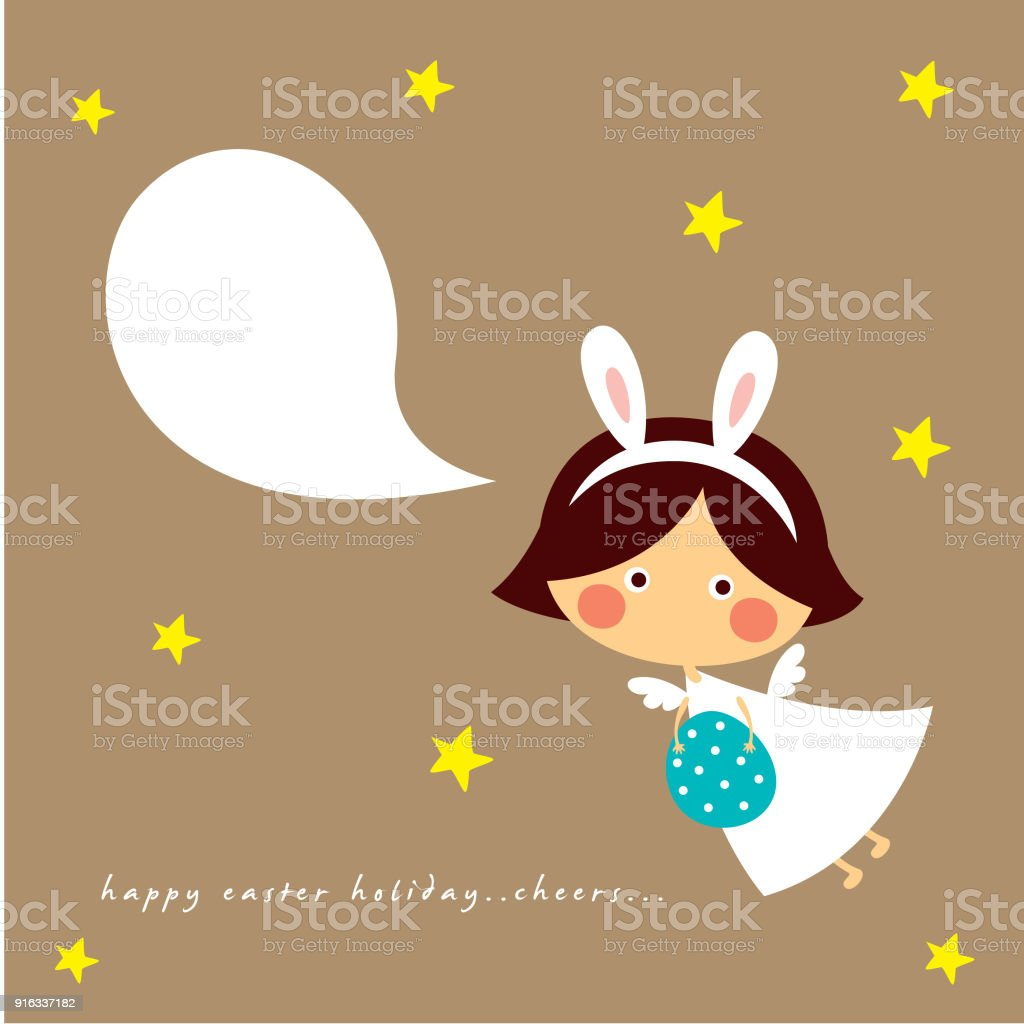 Cute Angel Girl Happy Easter And Happy Birthday Greeting Vector
