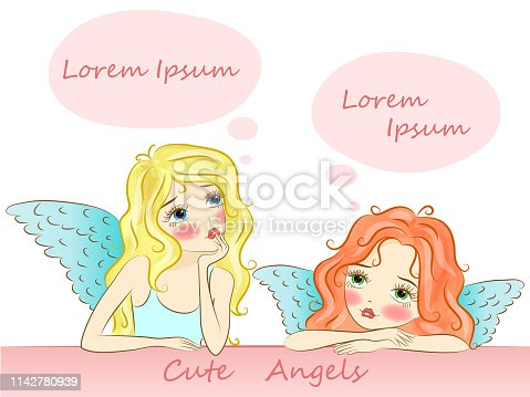 Cute angel girls are sitting pensive and dreaming.