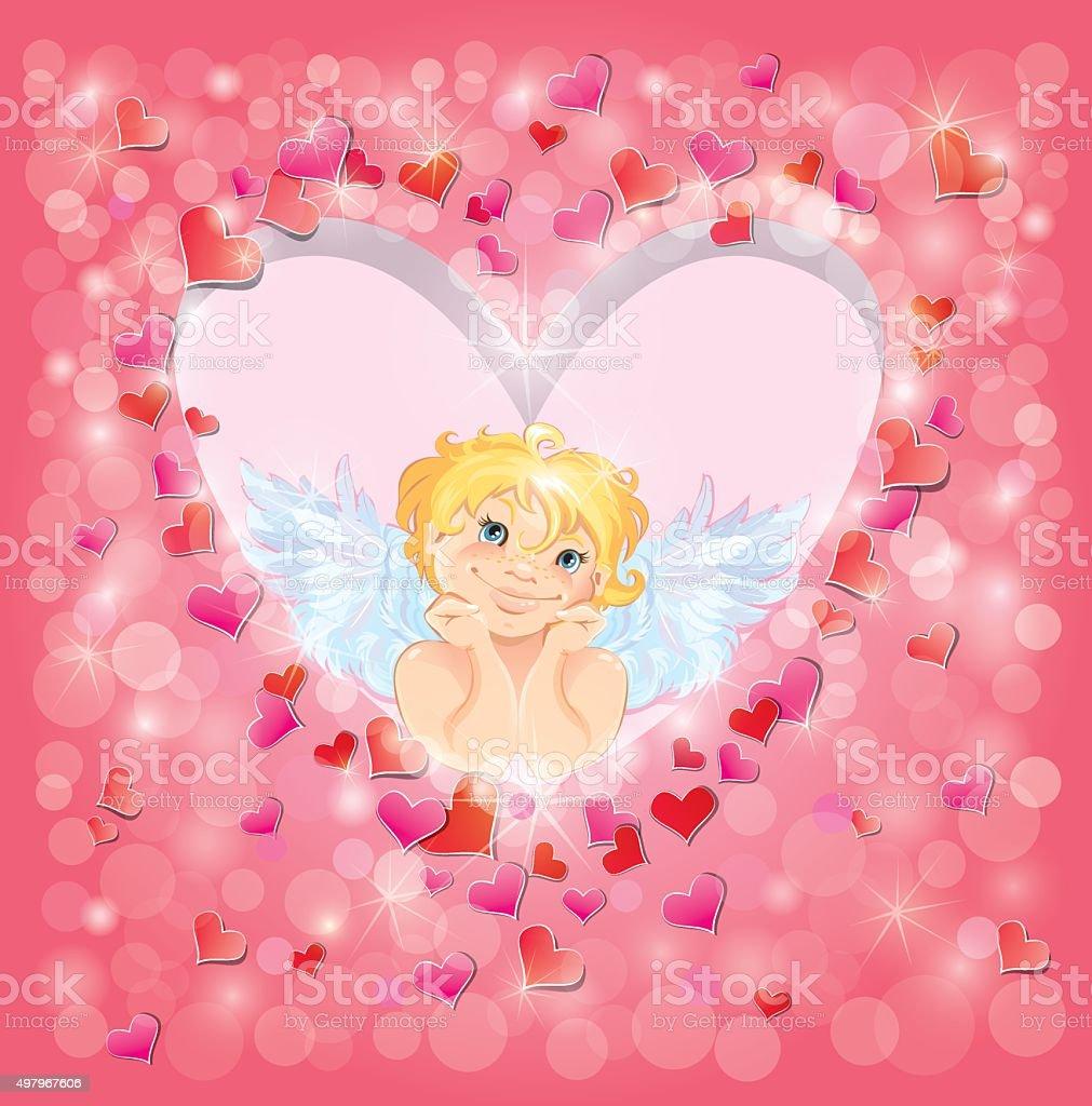 Linda ángel en forma de corazón bastidor. Diseño de tarjeta de día de San Valentín. - ilustración de arte vectorial