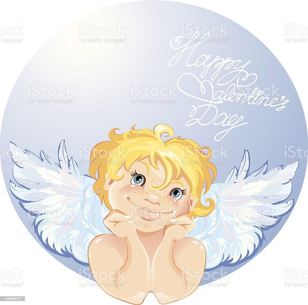 Süße Engel In Die Round Frame Valentinstagcard Design Stock Vektor