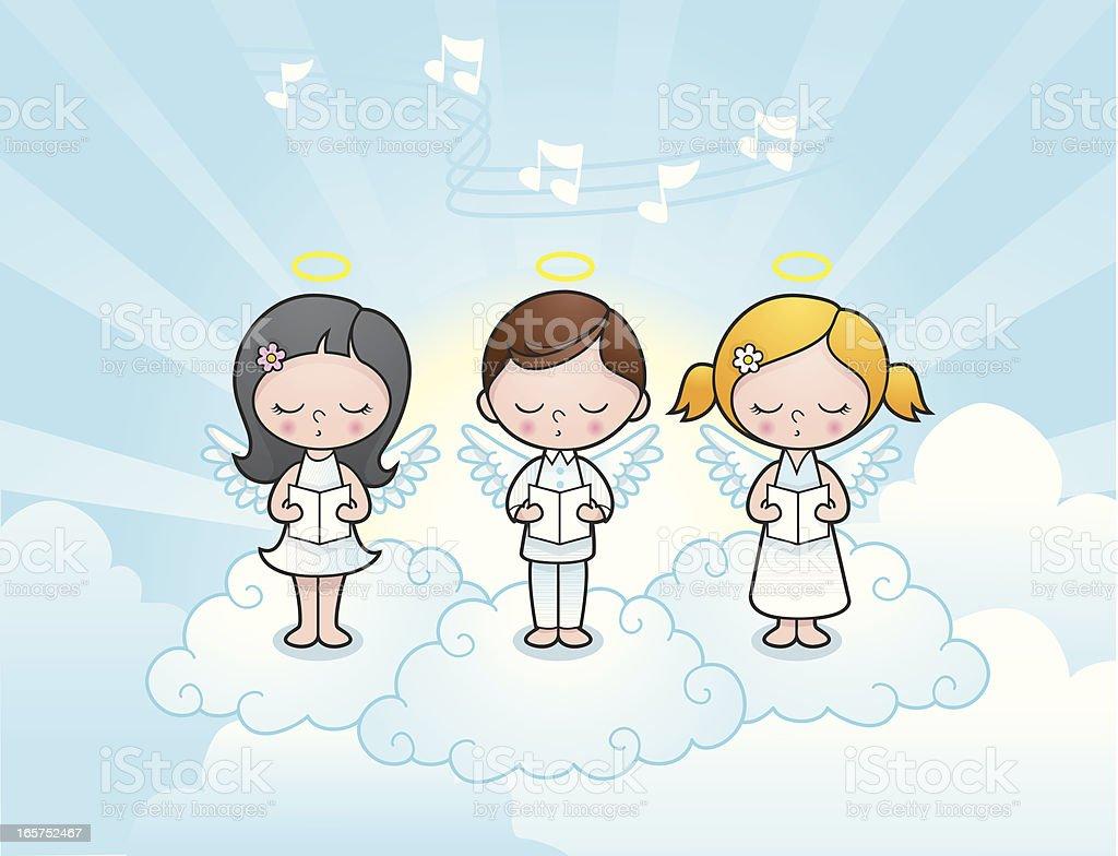 Süße Engel Kinder Singen Stock Vektor Art Und Mehr Bilder Von