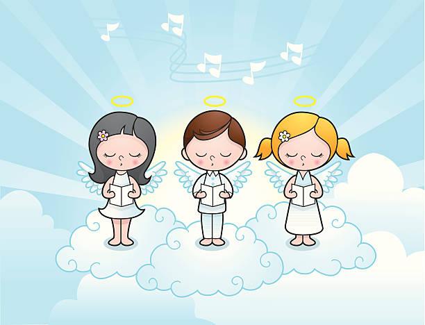 Cute angel kids singing vector art illustration