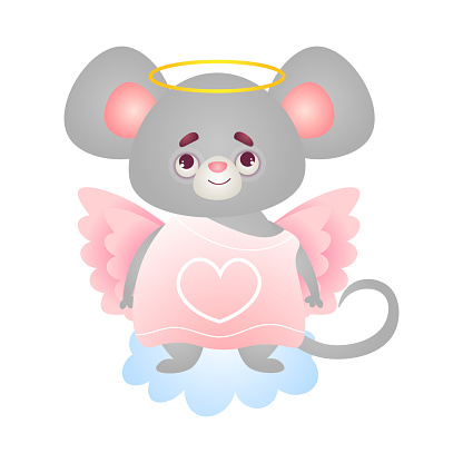 Cute angel mouse stands on cloud in a pink dress with wings. Vector illustration isolated on white background.