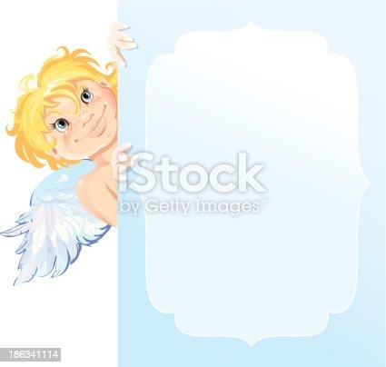 istock Cute angel peeking round from behind  frame. 186341114