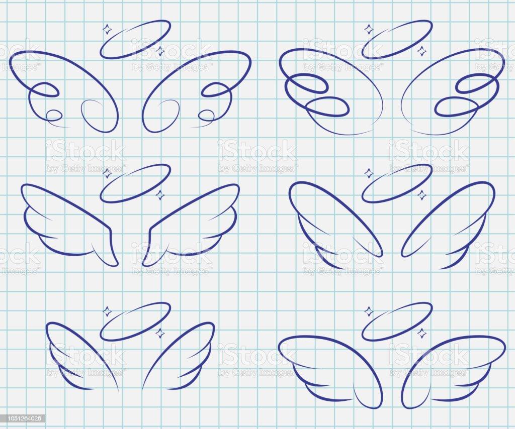 ハローがかわいい天使の羽を設定します。漫画のベクトルのスケッチ アイコン「ノートブック」ページに分離。 ベクターアートイラスト