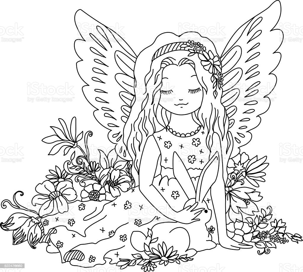cute angel with bunny coloring book illustration royalty free stock vector art