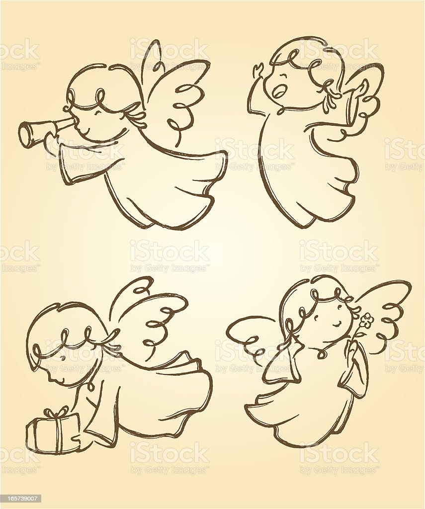 Cute Angels Set 2 vector art illustration