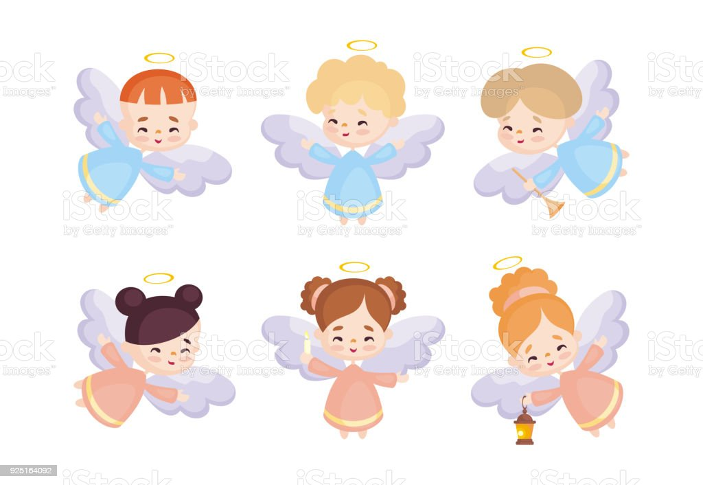 cute angels set vector art illustration