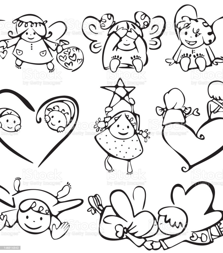 Cute angels vector art illustration