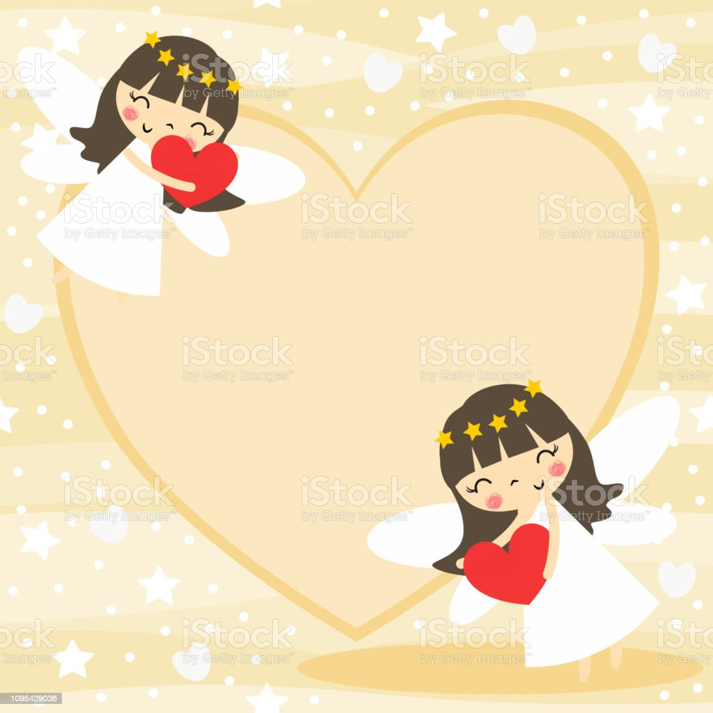 Cute Angle Hold A Heart Background Stock Illustration