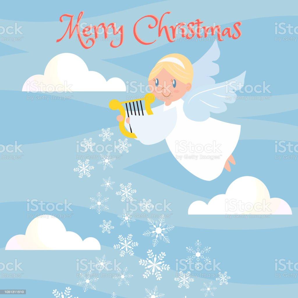 cute angle on the sky for christmas greeting card stock vector art