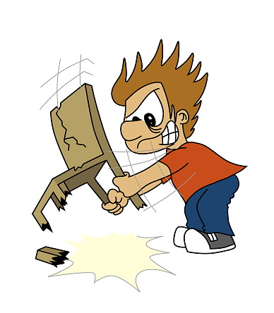 Cute angry boy breaking and smashing a wood chair onto the floor. Isolated on white background. Anger. Cartoon style illustration.