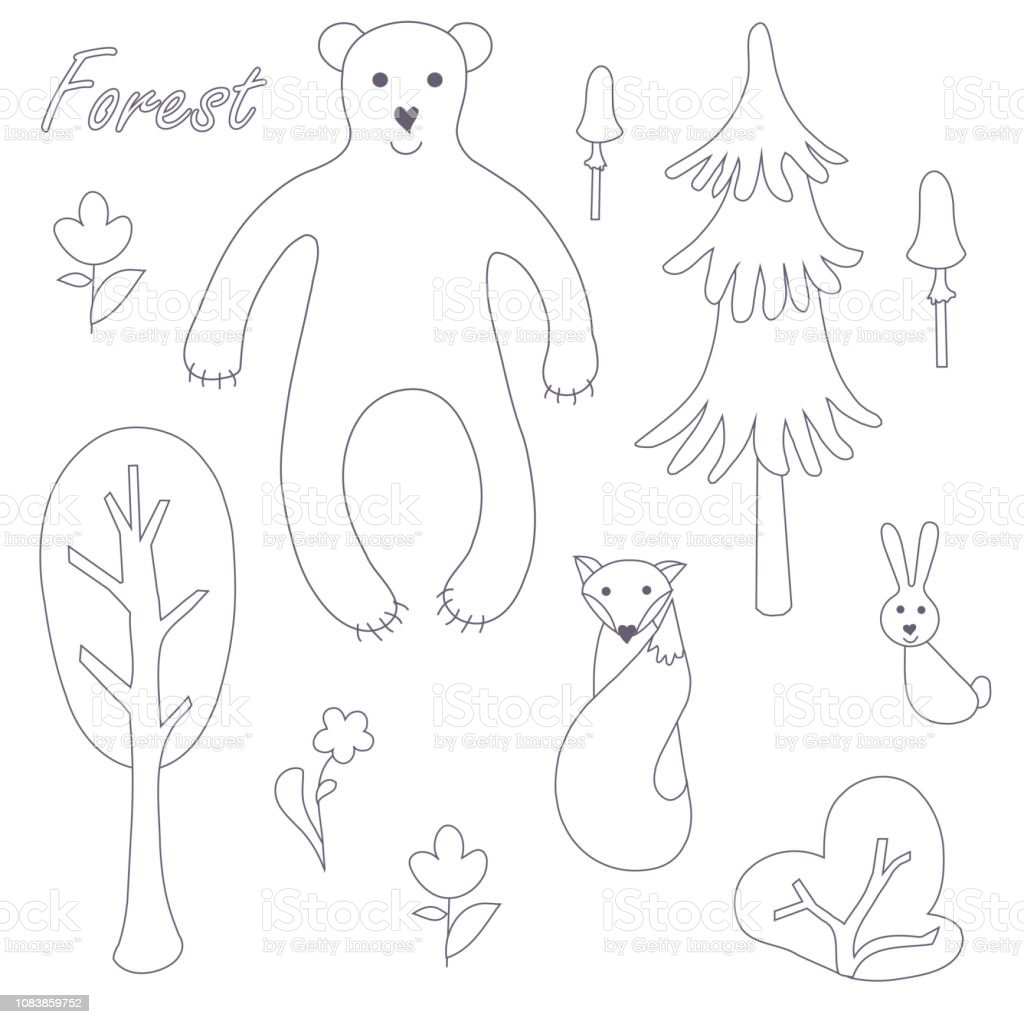 Mignon Animaux Et Vegetaux Forestiers Vecteur Monochromes