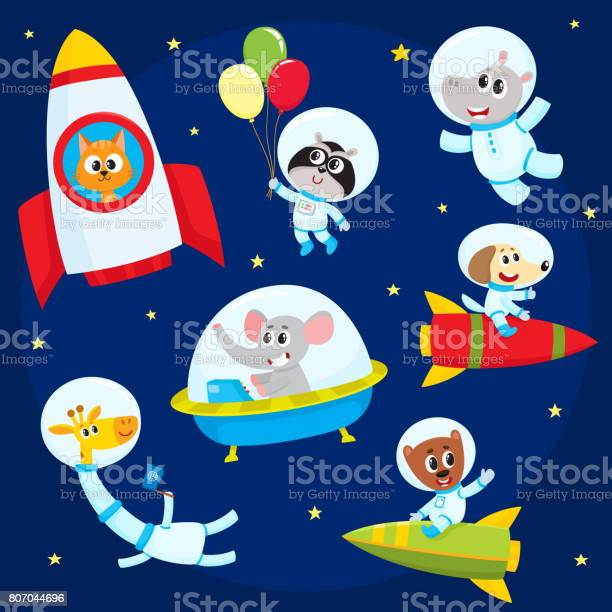Cute animal astronauts spacemen flying in rockets space suits ufo vector id807044696?b=1&k=6&m=807044696&s=612x612&h=apyhpkzz71b6sk6qijlf3in7m7fmw5vzp3dg2atgm o=